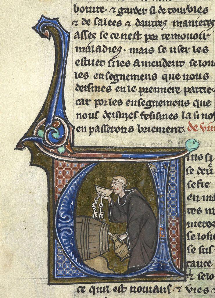 An abbey cellarer testing his wine. Illumination from a copy of Li livres dou santé by Aldobrandino of Siena. British Library manuscript Sloane 2435, f. 44v.