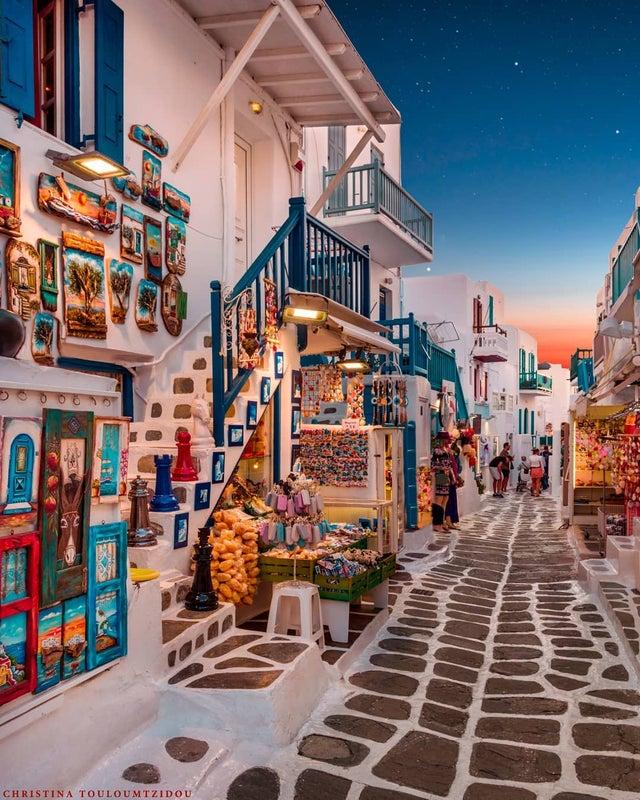 A market in Santorini, Greece at Dusk