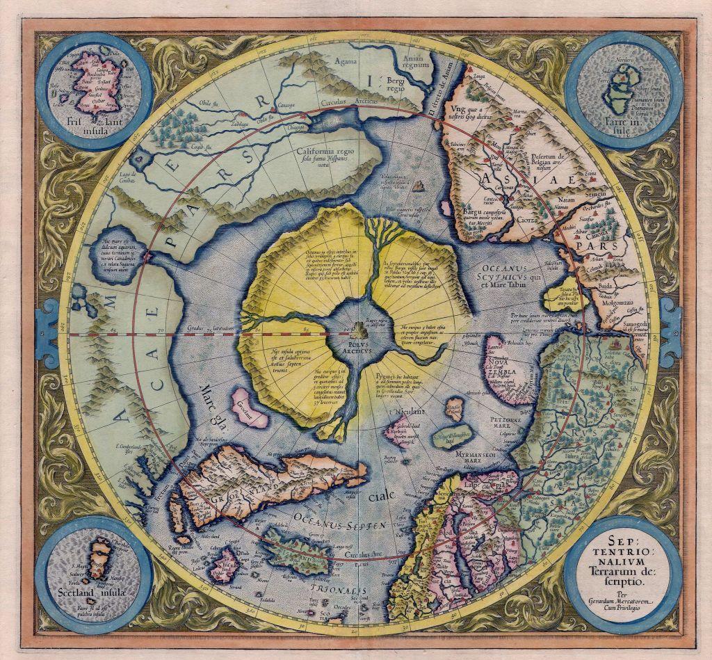 Mercator: Septentrionalium Terrarum descriptio. A map of the North Pole.