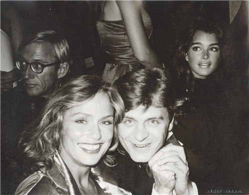 Lauren Hutton, Mikhail Baryshnikov, and Brooke Shields by Andy Warhol at Studio 54, New York City, September 21, 1982.
