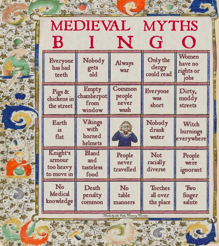 Medieval Myths Bingo by Fake History Hunter