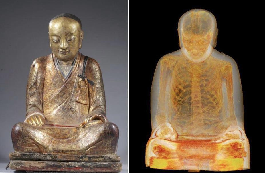 A CT Scan reveals an ancient mummified monk forever inside of a buddha statue