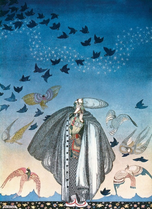 """No sooner had he whistled"" (1914), illustration by Kay Nielsen from ""The Three Princesses in the Blue Mountain"""