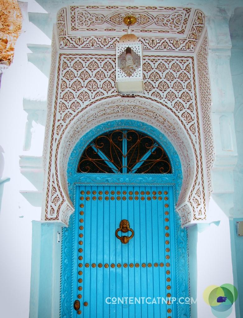 Moroccan door, Chefchaoen. Copyright  ©  Content Catnip 2009 www.contentcatnip.com