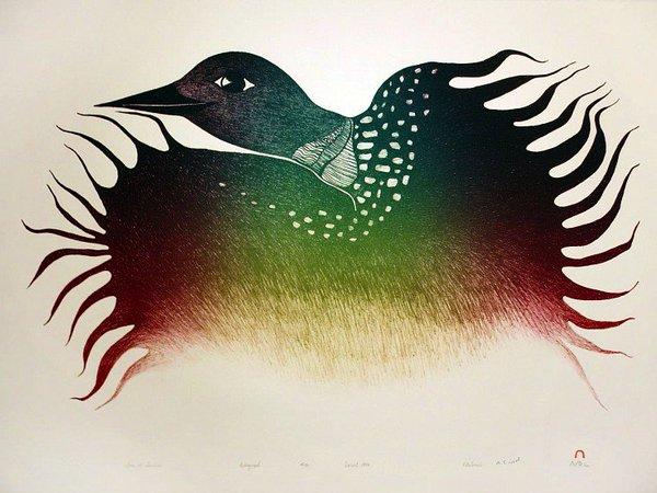 Loon at Sunrise by Pitaloosie Saila (1994)