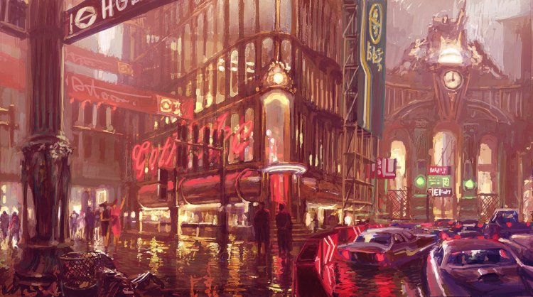 This Gothic and Imaginary London is Flint Black, Neon and Rainy