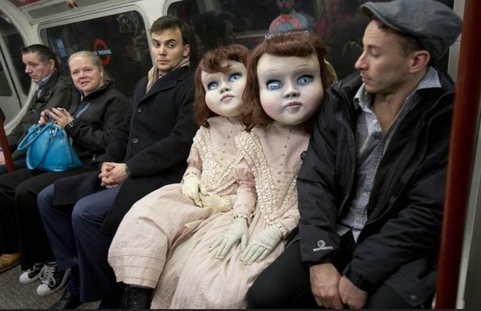 Creepy doll twins freak people out in Central London