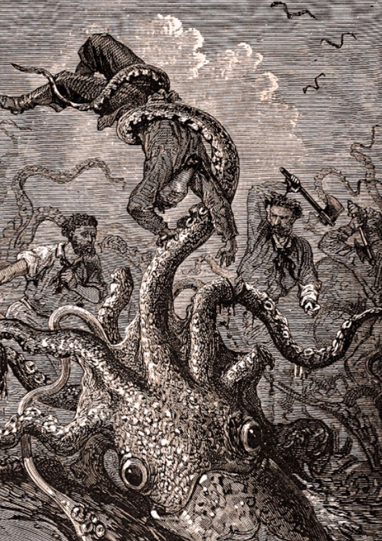 Kraken engraving by Édouard Riou, 1870