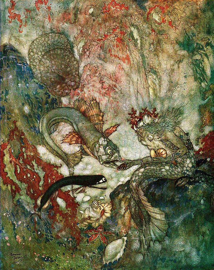 Edmund Dulac - The Mermaid, Merman King