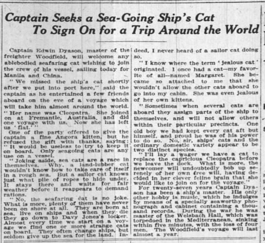 Captain Seeks a Sea-Going Cat to Sign on for a Trip Around the World, New York Times (1922)