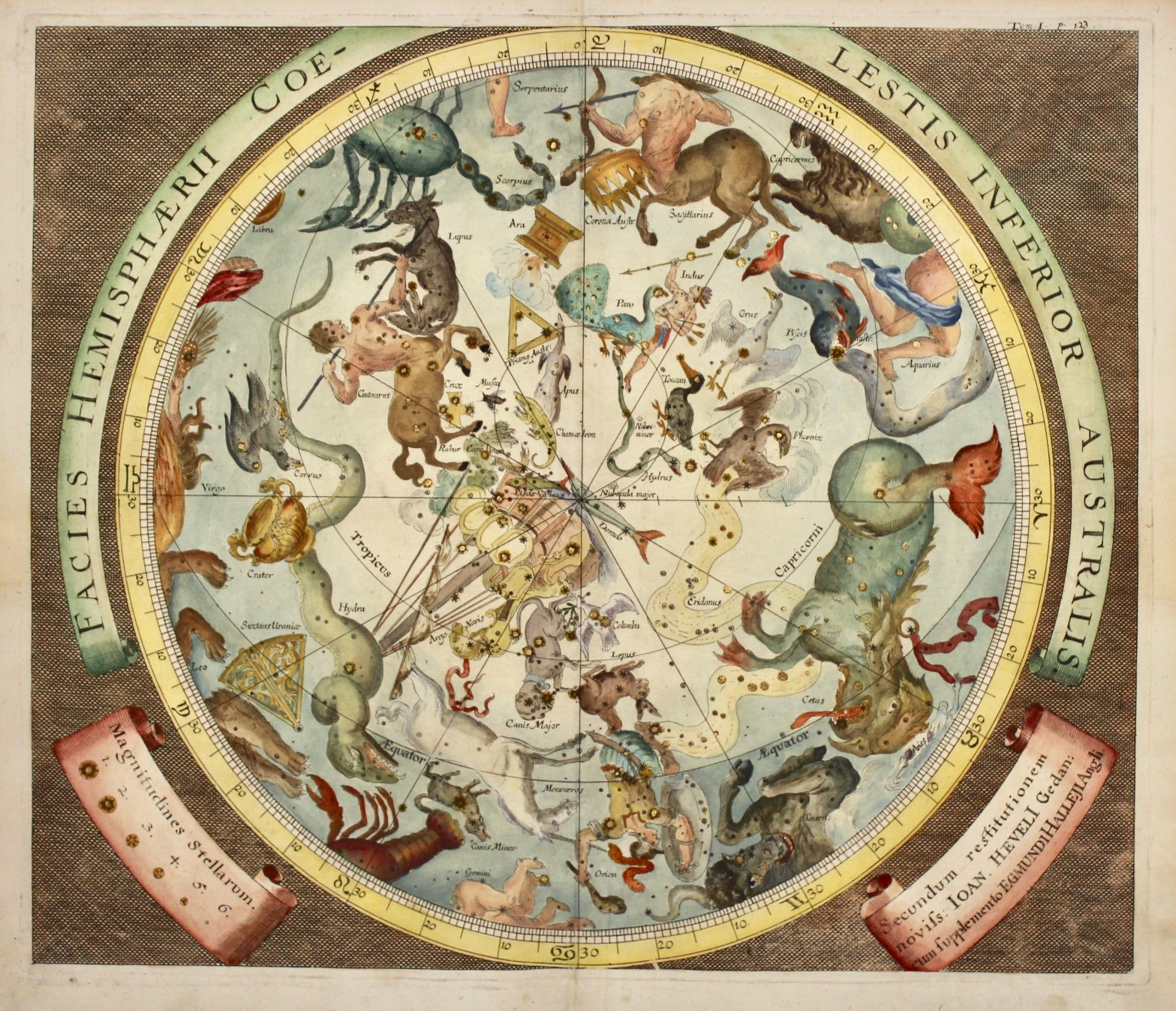 Facies hemisphaerii coelestis superior borealis (et australis) Johann Zahn (1641-1707)