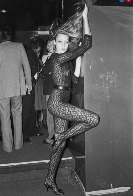 Jerry Hall struts her stuff at Studio 54