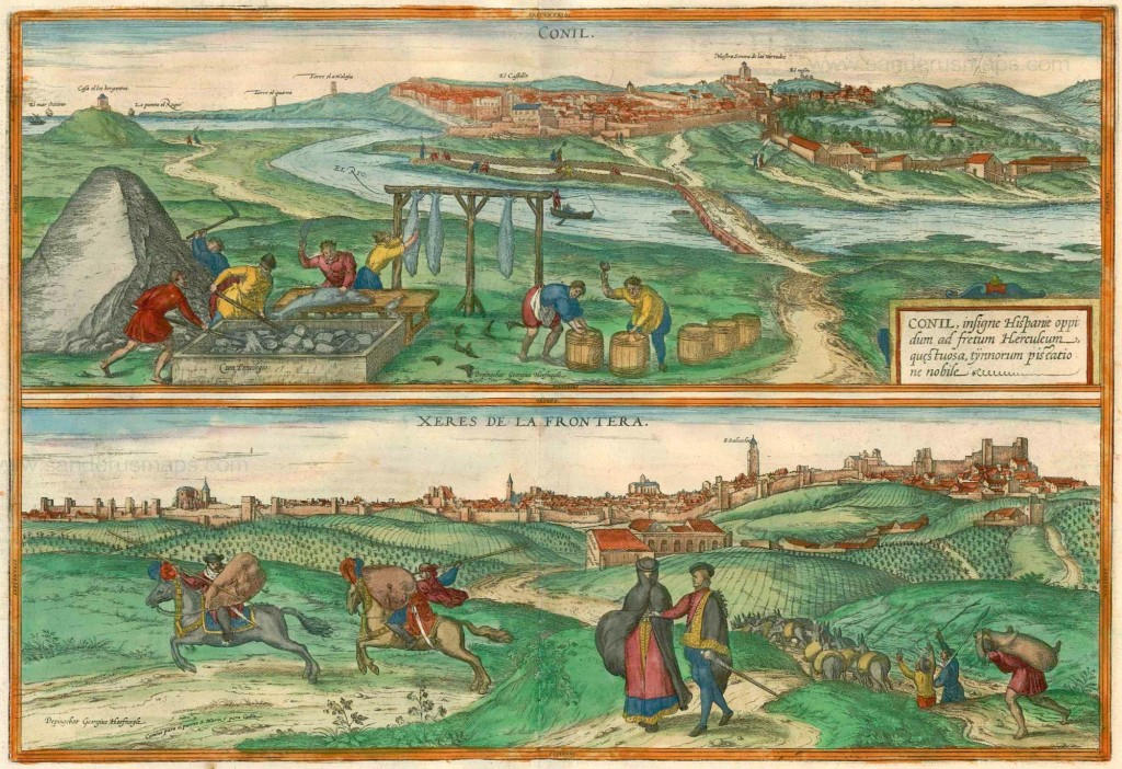 'Slice of life' portraitures of twin medieval cities and thriving ports Conil de la Frontera (top) and Xeres de la Frontera (bottom) twin cities on the Andalucian coast. Braun & Hogenberg, 1575-1612.