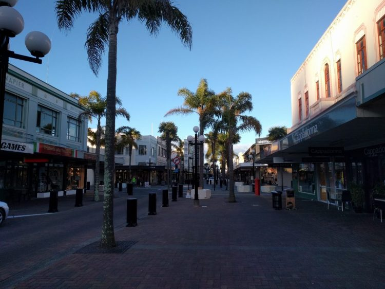 The bollards as they appear on the main street of Napier which is pedestrian friendly. Copyright Content Catrnip 2017