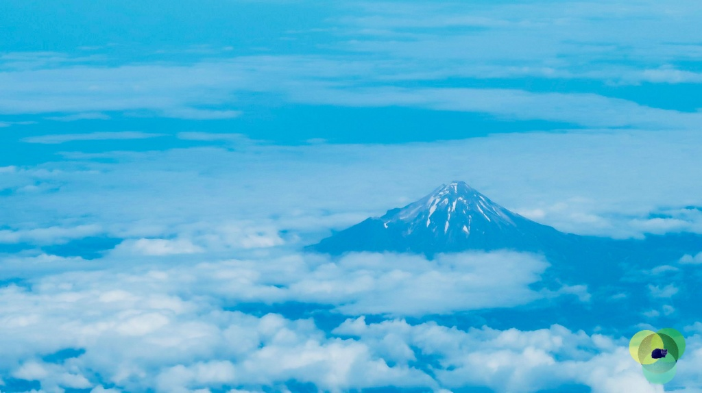 Mt Egmont Taranaki from the sky. Copyright Content Catnip 2020: A year of hope, peace and adventure