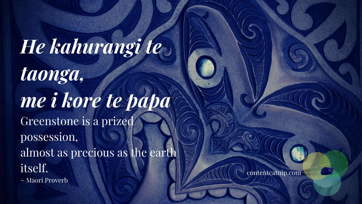 He kahurangi te taonga, me i kore te papa - Greenstone is a prized possession, almost as precious as the earth itself. ~ Māori Proverb #TeWikioteReoMāori #MāoriLanguageWeek