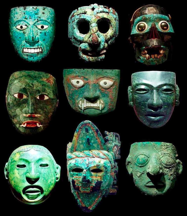 Stunning Pre-Columbian masks made of turquoise