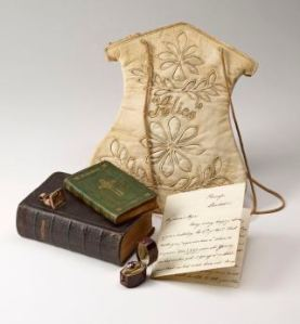 Alice Liddel's purse, praryer books, ring and letter, Imaged as a group AAH 382, PML 352188, PML 352189, PML 352301, AAH 383, PML 352302, MA 6348