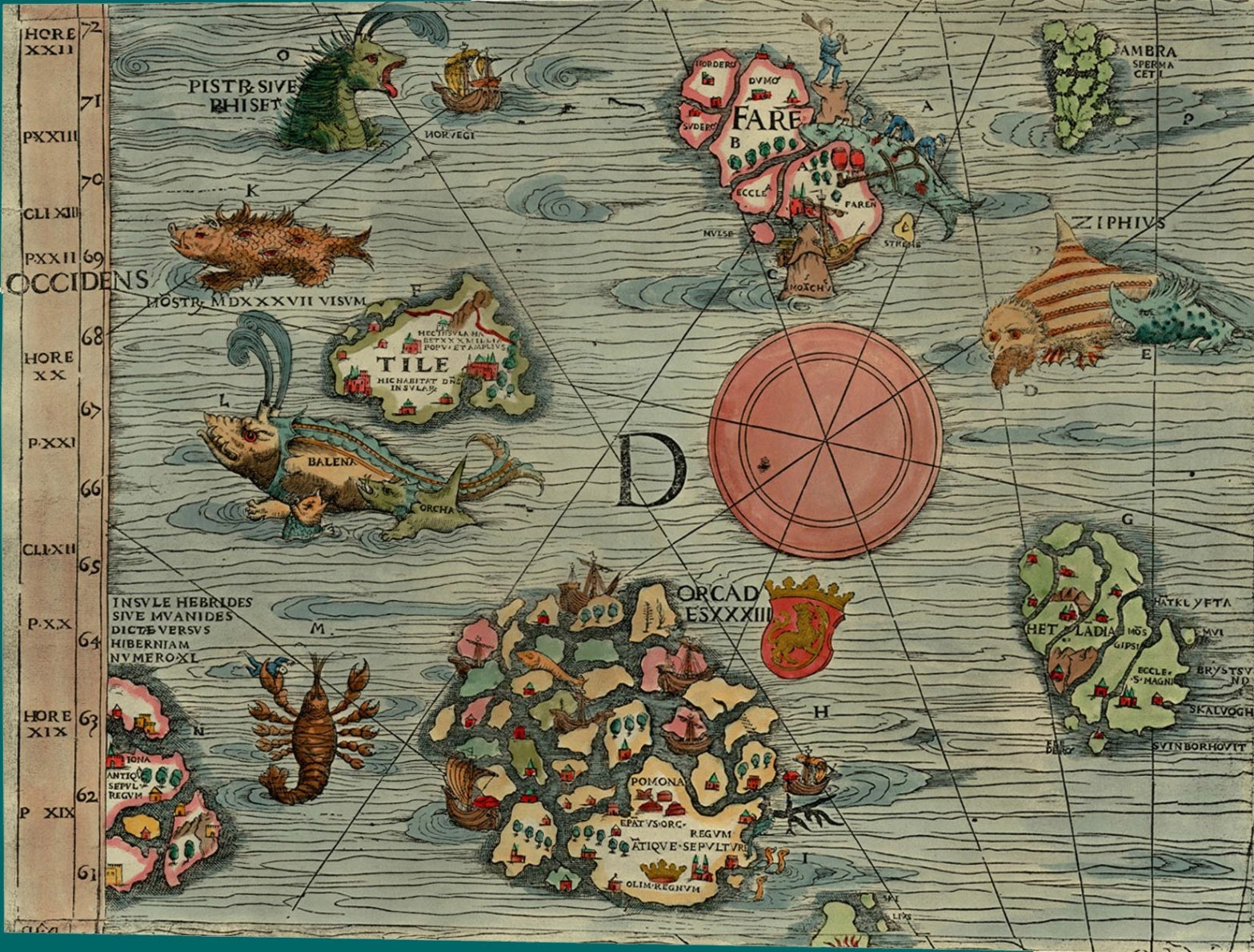 "Thule as Tile on the Carta Marina of 1539 by Olaus Magnus, where it is shown located to the northwest of the Orkney islands, with a ""monster, seen in 1537"", a whale (""balena""), and an orca nearby."