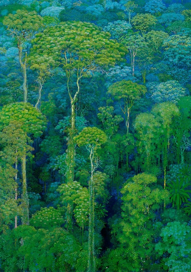 Exquisite Japanese paintings of an enchanted forest by Hirō Isono (1945-2013)