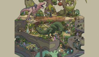 A cross-section of a Juarassic subterranean world by Gozz on Twitter