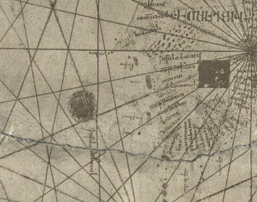 Hy-Brasil on a 1339 nautical chart by Angelino Dulcert (1890 facsimile) (via Norman B. Leventhal Map Center, Boston Public Library)