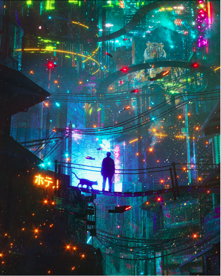 A sparkling Bladerunner vision of the future by Danguiz