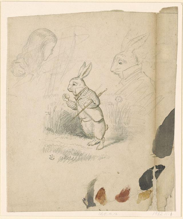 Illustrator John Tenniel 's studies for White Rabbit in the original Alice in Wonderland illustrations.