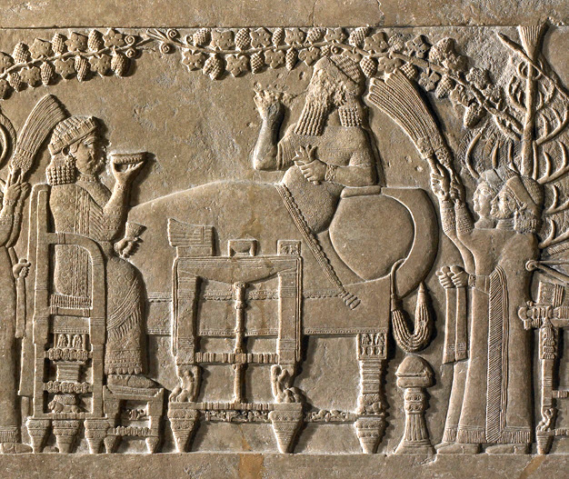 Bas-relief depicting a banquet in the palace of Assyrian king Ashurbanipal