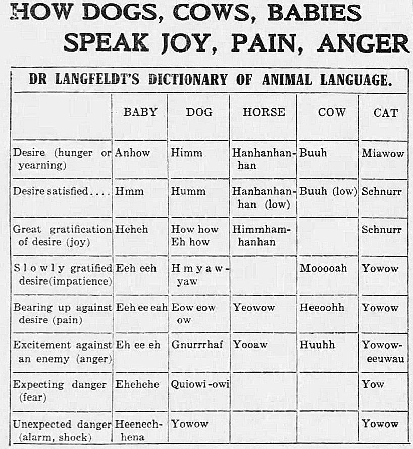 Dr Langfeldt's Dictionary of Animal Language