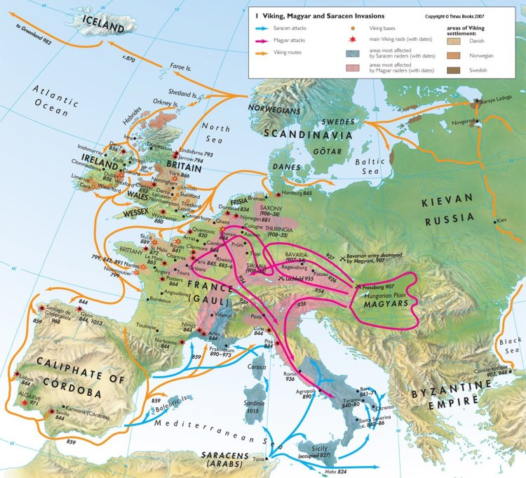 The Viking, Magyar and Muslim invasions of Europe in the early Middle Ages