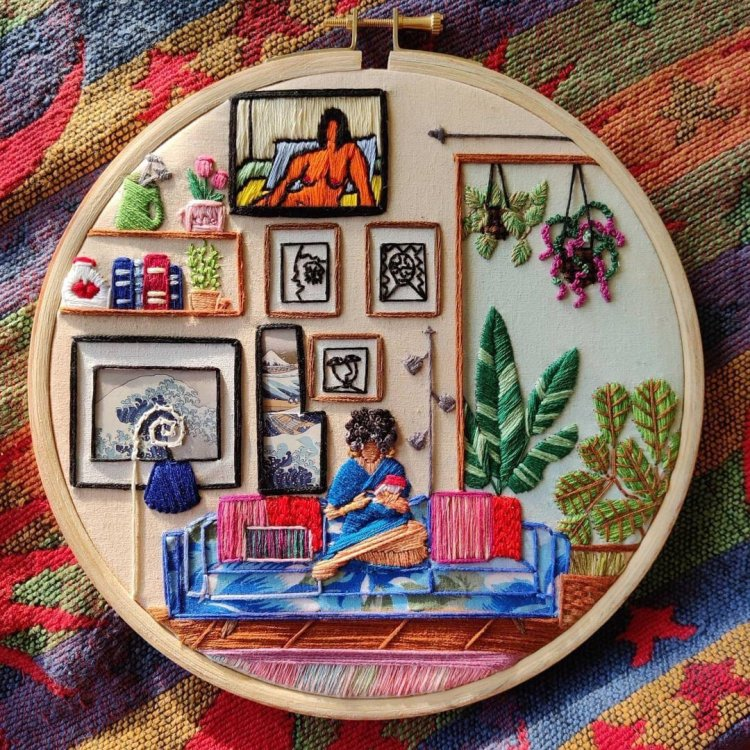 Hooplaback Girl's cosy embroidery about women just chilling out