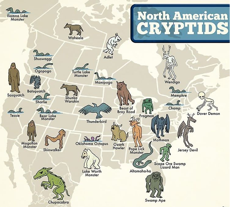 A map of mysterious North American cryptids