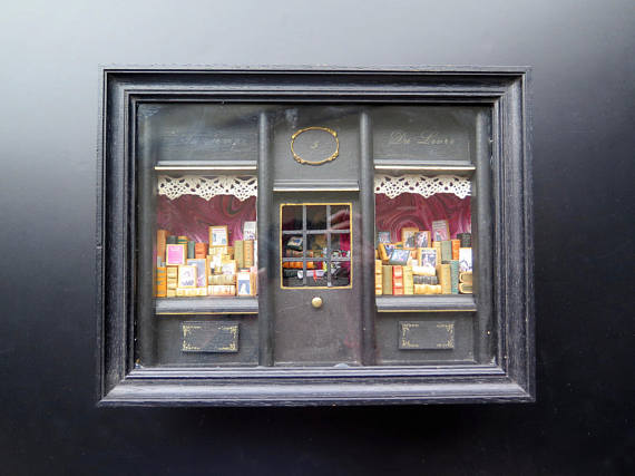 MINIATURE ANTIQUE FRENCH BOOK STORE BY TITOWANDERLUST
