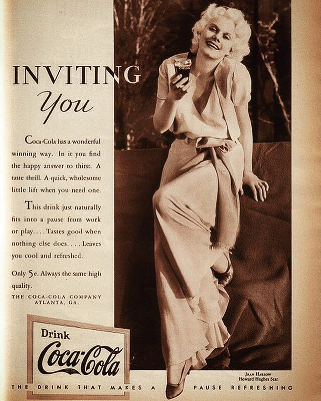 Exotic Ads of the Past: Jean Harlow for Coca-Cola in 1935