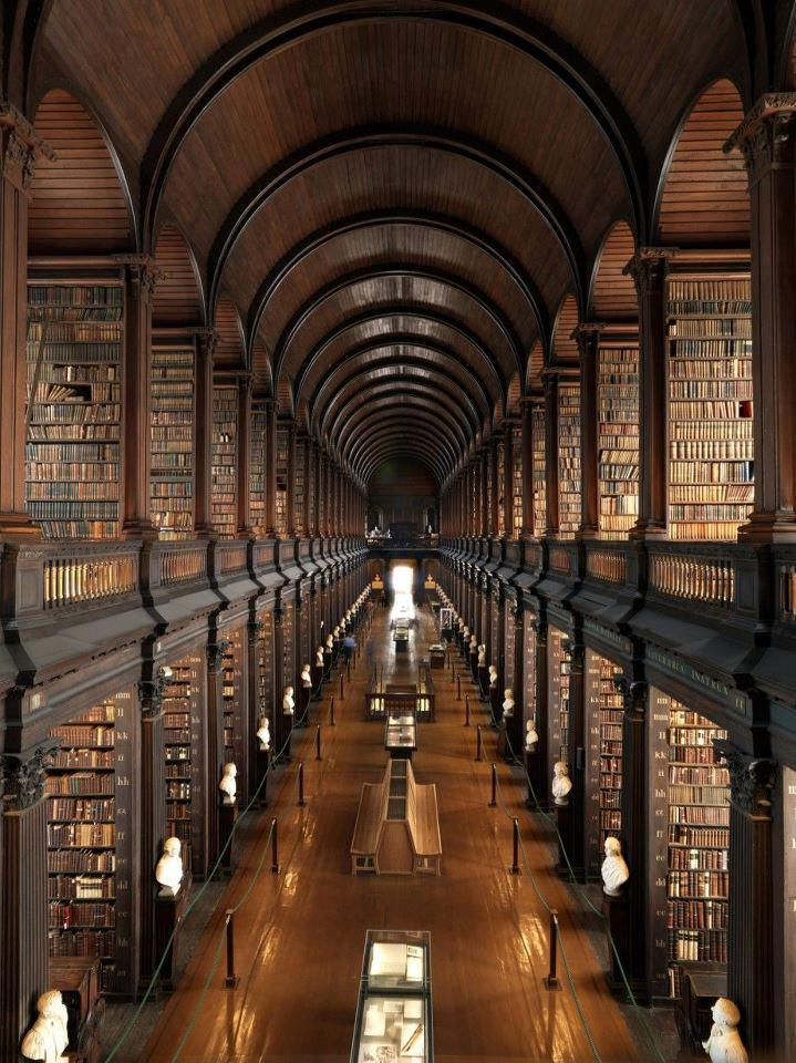 Trinity College Library in Dublin has over 7,000,000 volumes of manuscripts and opened in 1592 AD.