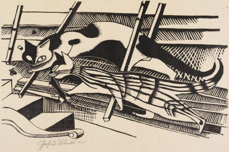Gerhard Marcks; Die Katzen im Dachboden/Cats in the Attic, 1921