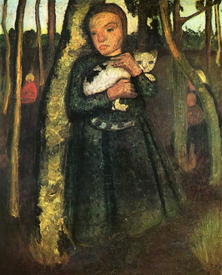 Paula Modersohn-Becker; Mädchen mit Katze im Birkenwald/ Girl in Birch Wood with Cat, 1904