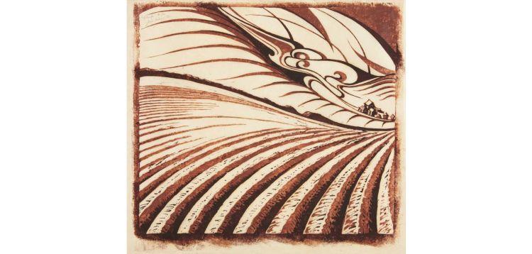 Sybil Andrews, Plough, linocut, 1961