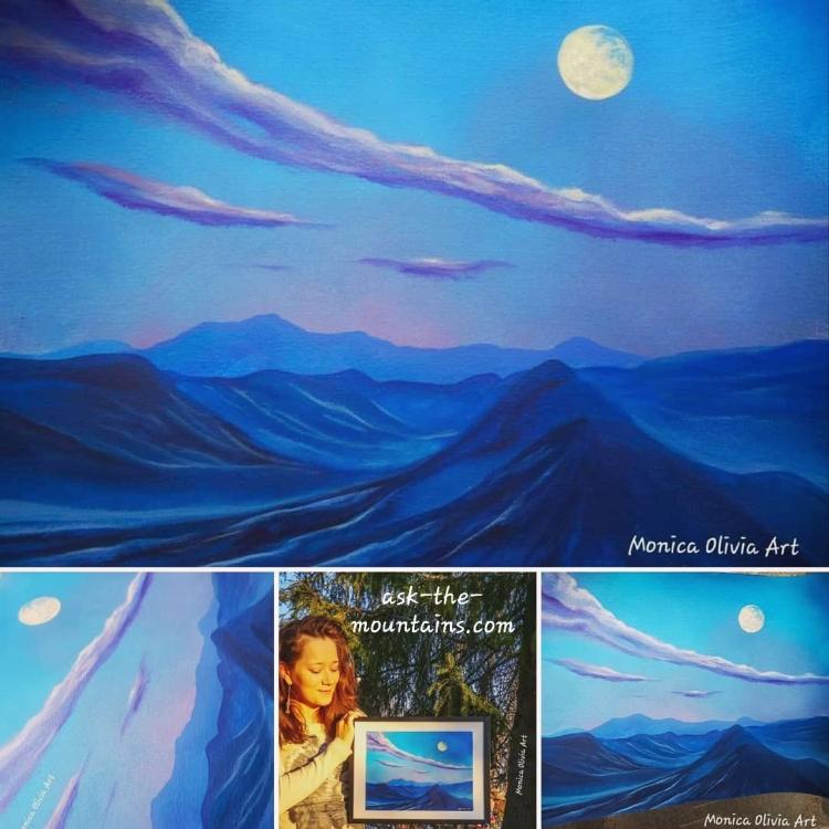"""""""Moonlit landscape"""" 32 x 24 cm"""