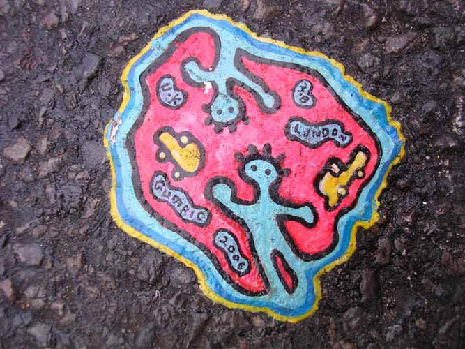 Colourful chewing gum street art in London by Ben Wilson