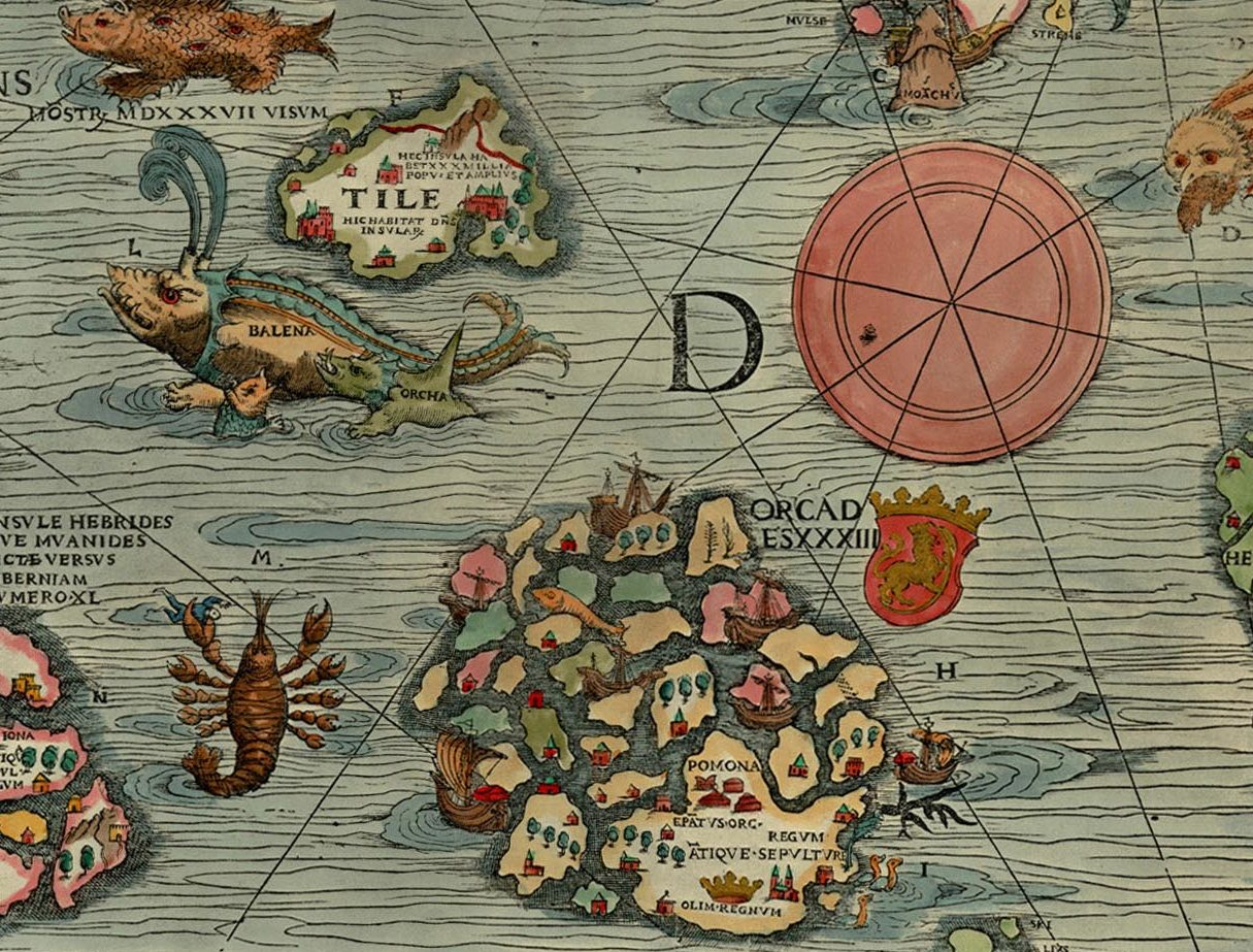 """Thule as Tile on the Carta Marina of 1539 by Olaus Magnus, where it is shown located to the northwest of the Orkney islands, with a """"monster, seen in 1537"""", a whale (""""balena""""), and an orca nearby."""