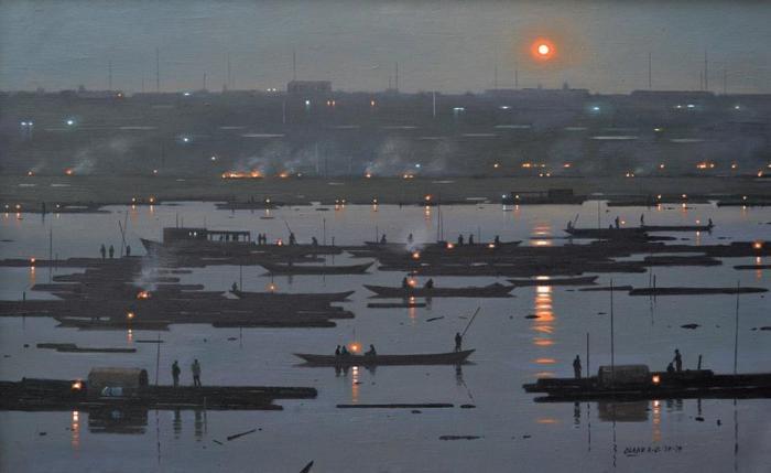 Crepuscular landscapes and darkening twilight suburbs by Nigerian painter Abiodun Olaku (b. 1958)