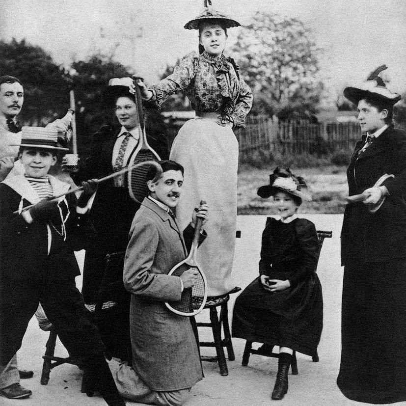 Marcel Proust playing air guitar with a tennis racket in 1891