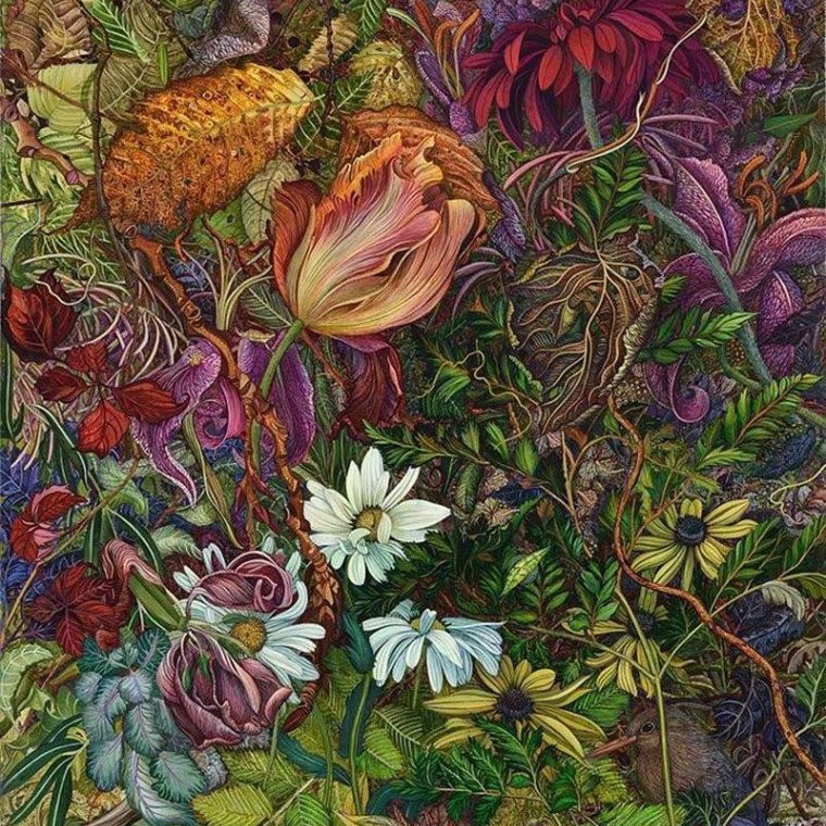 Judy Garfin's larger-than-life exquisite blumes and tangled vines