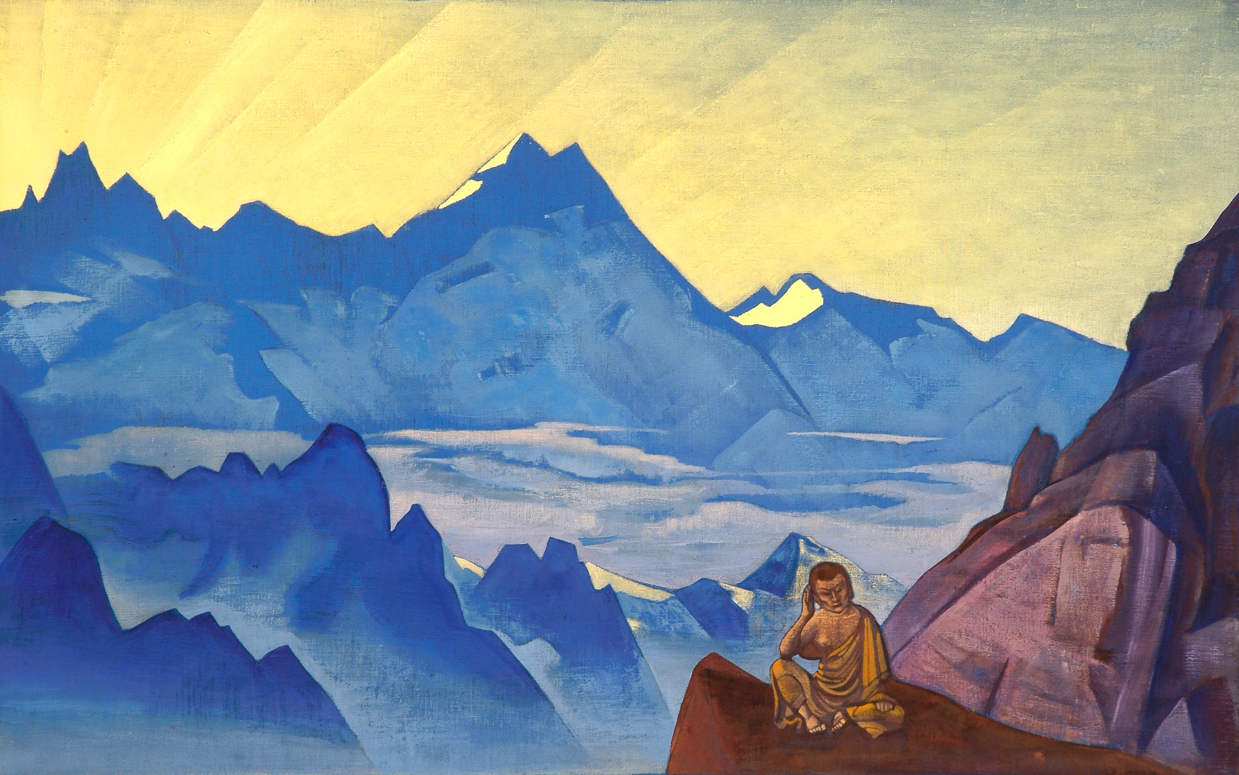 """""""Milarepa – the one who harkened"""", 1925 – the first painting I saw of Roerich and fell in love with."""