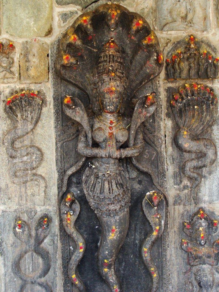 Snake goddess in a half-reptilian form, Halebidu Temple, Karnataka, India