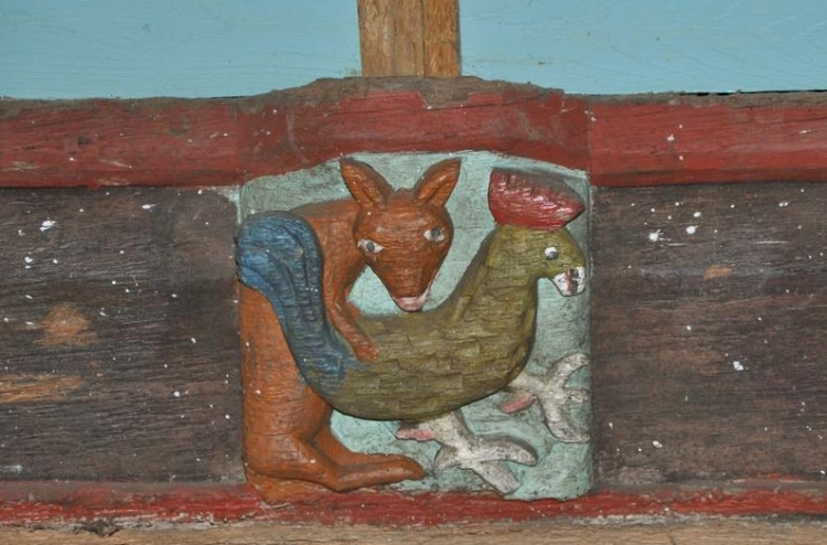The church in Lanrivain contains a rather charming carved wooden statue depicting a reclining Virgin breast-feeding
